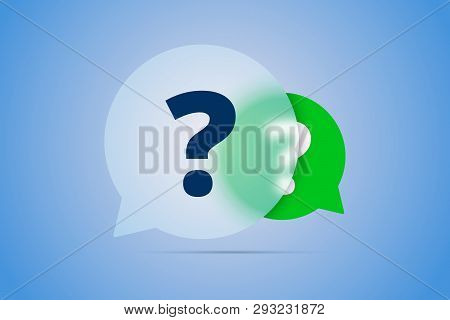 Two Question Marks In Speech Bubbles - Vector.