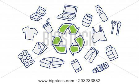 Recycling Hand Drawn Vector Illustration. Recyclable Things: Plastic, Cardboard Box, Bottles, Paper.
