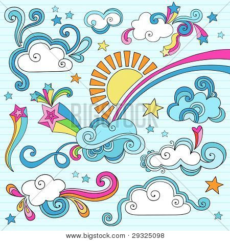 Psychedelic Groovy Clouds, Sun, and Rainbow Notebook Doodle Design Elements Set on Lined Sketchbook Paper Background- Hand Drawn Vector Illustration poster