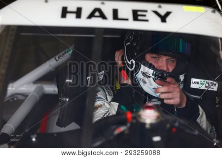 March 29, 2019 - Ft. Worth, Texas, USA: Justin Haley (11) gets ready to practice for the My Bariatric Solutions 300 at Texas Motor Speedway in Ft. Worth, Texas.