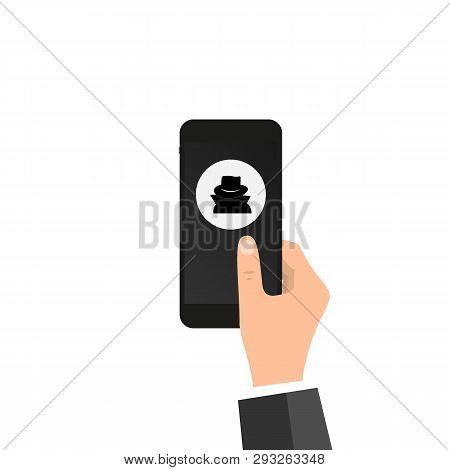 Vpn App, Anonymous Proxy. Hand Holds Smartphone, Disguise Mask On Screen, Finger Touches Screen. Ano