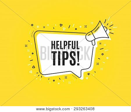 Helpful Tips Symbol. Megaphone Banner. Education Faq Sign. Help Assistance. Loudspeaker With Speech