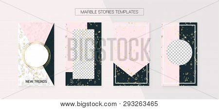 Stories Template Cool Vector Layout. Graphic Apps Design Pack. Social Media Blogger Border Set. Grun