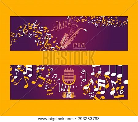 Musical Instruments Set Of Banners Vector Illustration. Music Concept With Saxophone, Microphone, No