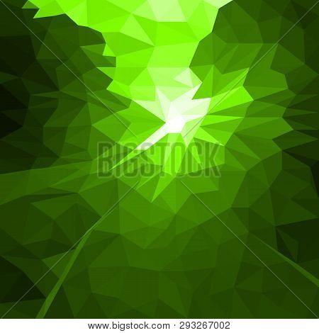 Vector Abstract Green Background Of Flash Or Light. Geometric Fond With Blur Effect. Illustration Of