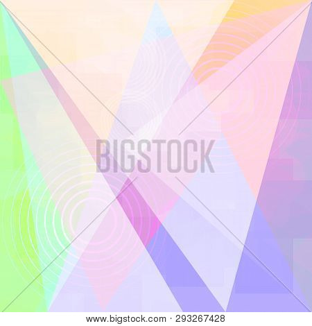 Vector Abstract Light Background With Blur Effect. Geometric Fond With Circles And Triangles. Illust