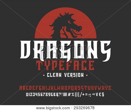 Font Dragons. Clean Version.  Hand Crafted Retro Vintage Typeface Design. Handmade  Lettering. Authe