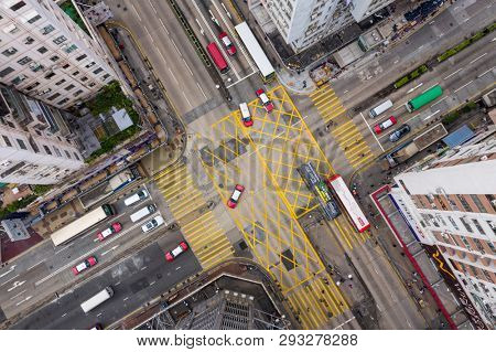 Mong Kok, Hong Kong 21 March 2019: Top view of Hong Kong traffic road intersection in city