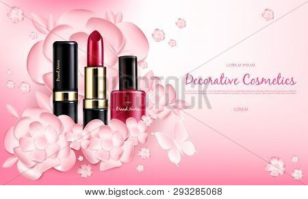 Vector Realistic Cosmetic Promo Poster. Banner With Woman Red Collection Of Makeup Decorative Cosmet