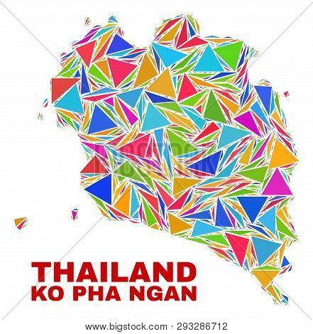 Mosaic Ko Pha Ngan Map Of Triangles In Bright Colors Isolated On A White Background. Triangular Coll
