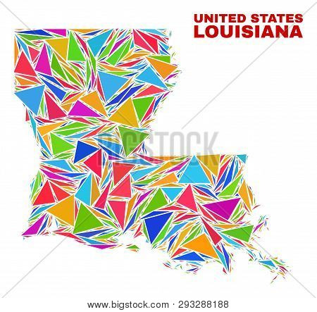 Mosaic Louisiana State Map Of Triangles In Bright Colors Isolated On A White Background. Triangular