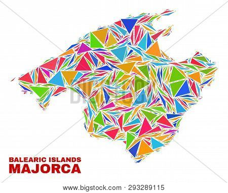 Mosaic Majorca Map Of Triangles In Bright Colors Isolated On A White Background. Triangular Collage