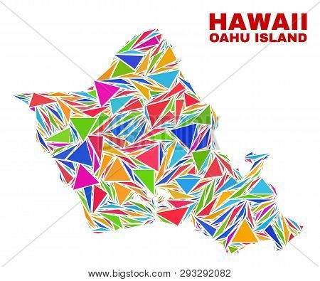 Mosaic Oahu Island Map Of Triangles In Bright Colors Isolated On A White Background. Triangular Coll