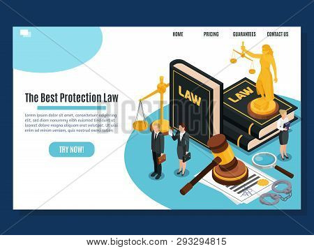 Law Protection Judicial And Justice Court Systems Public Services Home Page Isometric Composition We