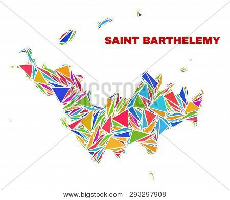 Mosaic Saint Barthelemy Map Of Triangles In Bright Colors Isolated On A White Background. Triangular