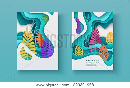 Set Of Seasonal Banners With Layered Shapes And Colorful Leaves In Paper Cut Style. The Color Palett
