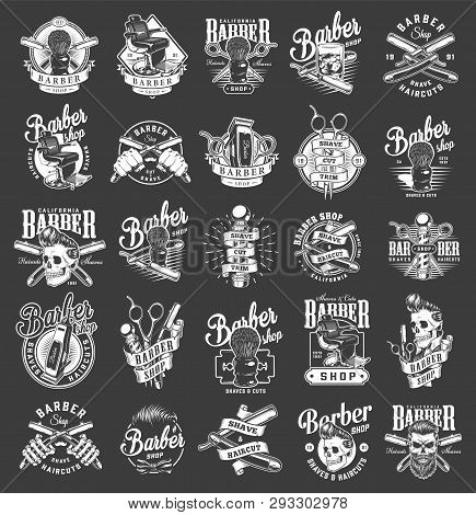 Vintage monochrome barbershop emblems with barber accessories comfortable chair glass of whiskey hipster skulls with stylish hairstyles isolated vector illustration poster