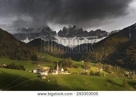 Famous Best Alpine Place Of The World, Santa Maddalena Village With Magical Dolomites Mountains In B