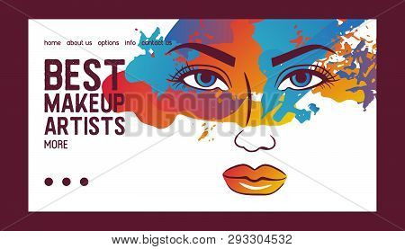 Woman Face Banner Web Vector Illustration. Beauty Design For Salon, Make Up Artist Courses Training.