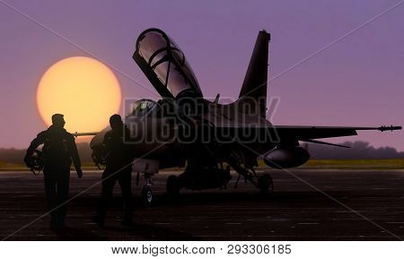Air Force Jet Fighter Pilots Silhoutte At Dusk Sunset On Military Base Airfield