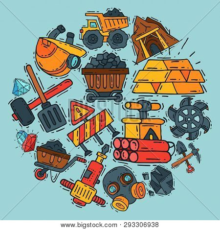Mining Industry Round Pattern Vector Illustration. Profession And Occupation. Coal Mining Equipment,