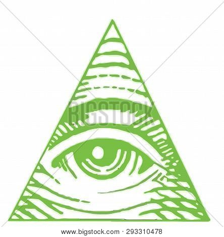 Eye Of Providence Illuminati Freemasonry Triangle Green Illustration