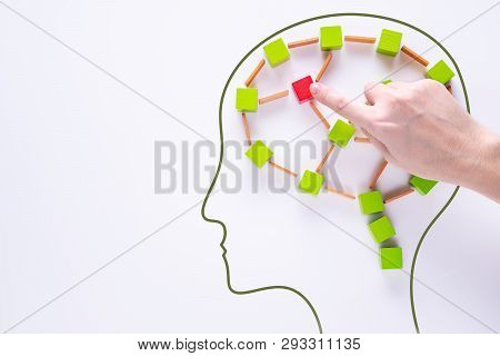 Brain Damage Concept. Brain Disorder Symbol. Head With Colourful Shapes Of Abstract Brain. Human Bra
