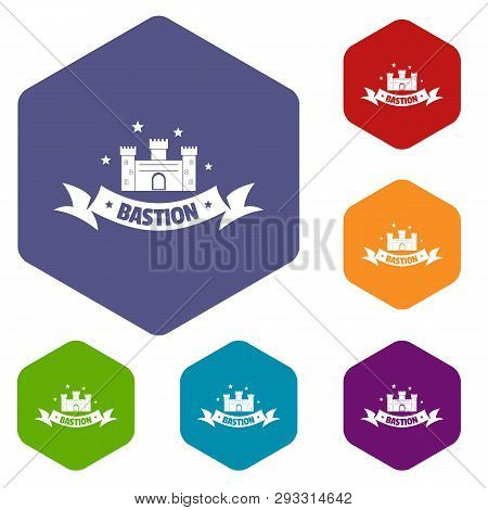 Building Bastion Icons Vector Colorful Hexahedron Set Collection Isolated On White