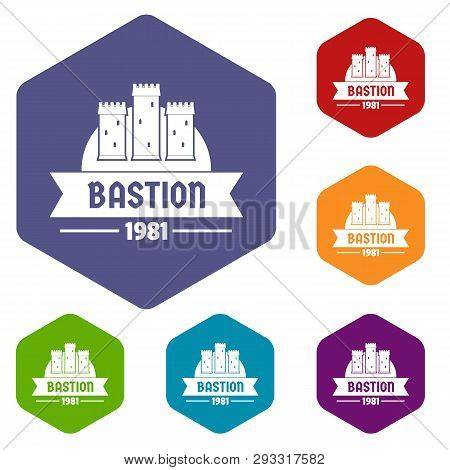 Kingdom Bastion Icons Vector Colorful Hexahedron Set Collection Isolated On White