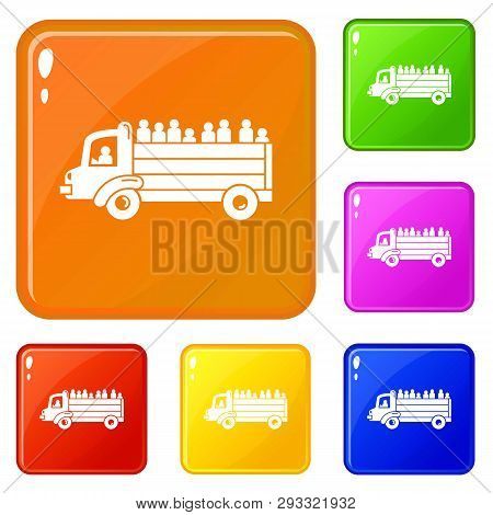 Refugee People Truck Icons Set Collection Vector 6 Color Isolated On White Background