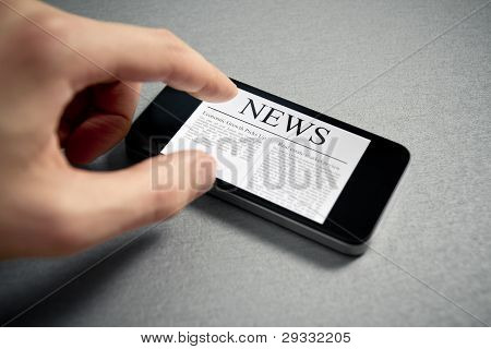 Touching News On Mobile Smartphone