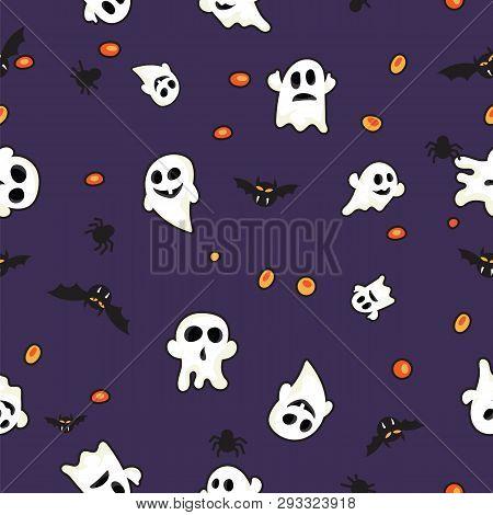 Halloween Pattern Black Bats, White Ghost And Orange Pumpkin On Violet Background