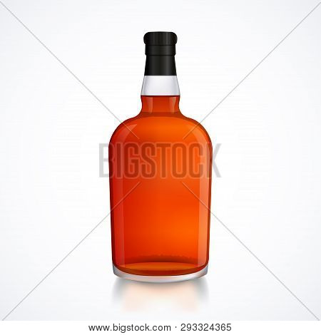 Glass Bottle Of Alcohol Drink, Whiskey, Bourbon, Liquor, Brandy, Cognac With Reflection, Isolated On