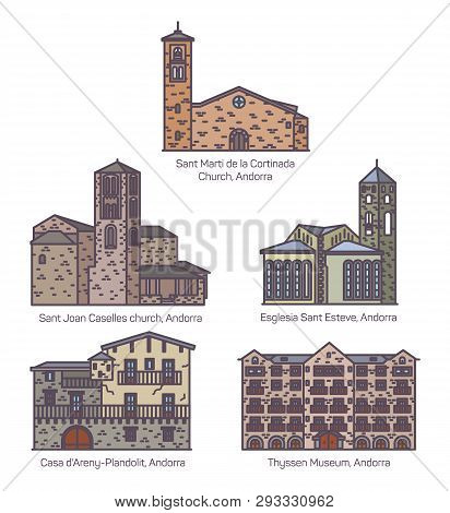 Set Of Isolated Colorful Andorra Church And Castle