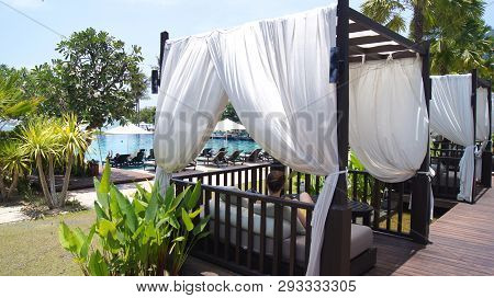 Kedah, Langkawi, Malaysia - Apr 05th, 2015: Beautiful Poolside Cabana Beside Luxury Resort