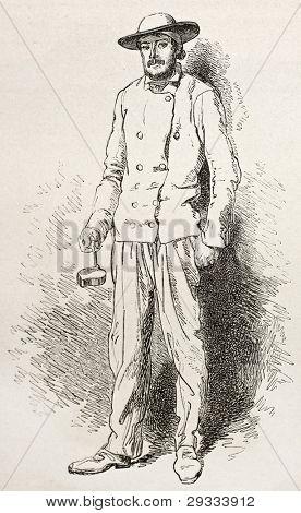 Montceau miner old engraved portrait. Created by Neuville after Bonhomme, published on Le Tour du Monde, Paris, 1867 poster