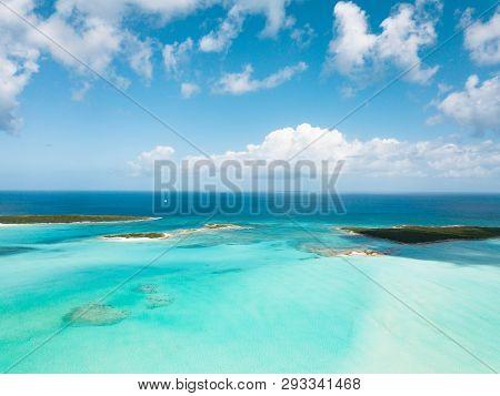 Aerial View Of Exuma At The Bahamas. Summer Vacation