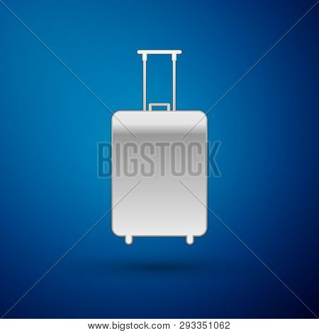 Silver Travel Suitcase Icon Isolated On Blue Background. Traveling Baggage Sign. Travel Luggage Icon