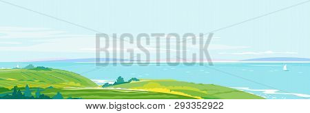 Panorama Of The Seaside From The Coastal Hills Overgrown With Vegetation, Agricultural Fields, Hills