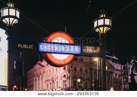 London, Uk - December 18, 2018: London Underground Sign At The Entrance Of Piccadilly Circus Station