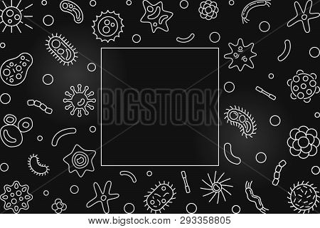 Human Microbiota Silver Horizontal Frame With Place For Your Text. Vector Concept Illustration In Th