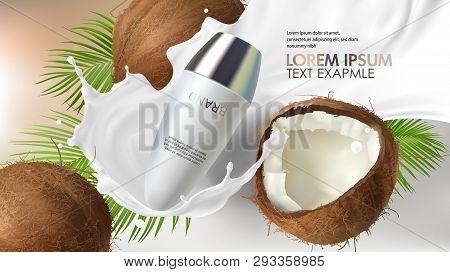 Cosmetic Realistic Vector Background. White Roll-on Deodorant, Antiperspirant Falling In Milk Splash