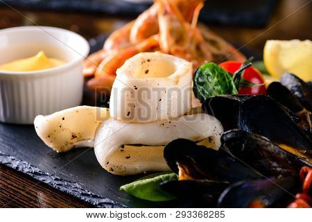 Squid Rings White. White Squid Rings And Mussels, White Squid Rings, Italian Calamari Rings