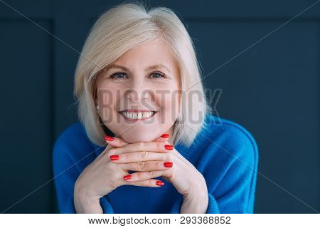 Senior Lady Portrait. Emotion And Facial Expression. Delight And Happiness. Face On Hands. Toothy Sm