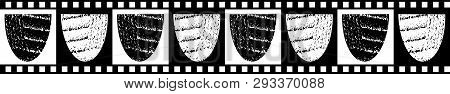 Modern Classic Seamless Vector Border Of Textured Bowl Shapes With Black And White Checkered Edging