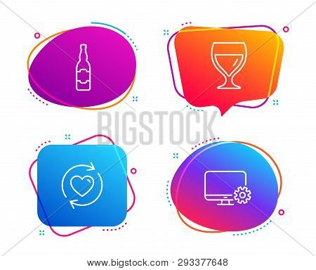 Wine Glass, Update Relationships And Beer Bottle Icons Simple Set. Monitor Settings Sign. Cabernet W