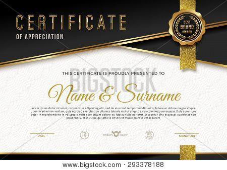 Certificate Template With Guilloche Pattern And Luxury Golden Elements. Diploma Template Design. Vec