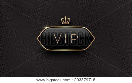 Vip Black Glass Label With Golden Crown And Frame On A Black Pattern Background. Premium Design. Lux