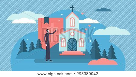 Christianity Vector Illustration. Flat Tiny Holy Church Priest Persons Concept. Sacred Theology Cult