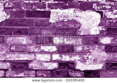 Old Grungy Brick Wall Surface In Purple Tone. Abstract Architectural Background And Texture For Desi